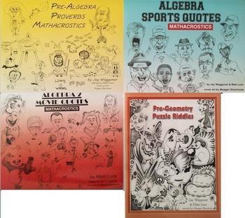 Value Added Publishing MATHACROSTICS series, all 4 books,