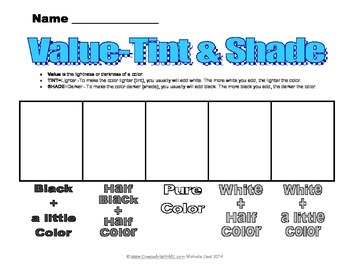 Value Art Lesson: Tint & Shade of a Color Elementary (FREE)