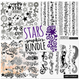 Value Bundle: Stars ClipArt, Digital Stamp, Star Silhouettes LineArt