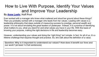 Value Lesson - An Introspective Lesson for Kids to Explore Their Values