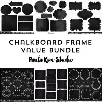 Value Pack - Chalkboard Frames by Paula Kim Studio | TpT