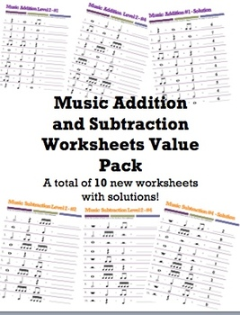 Value Pack Basic Music Addition and Subtraction Worksheets