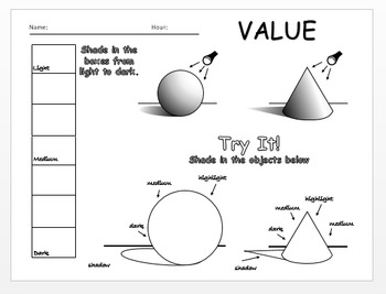 Elements of Art - Value Worksheet - Editable