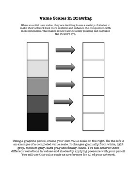 Value Scale & Gradient Visual Art Class Worksheet Handout