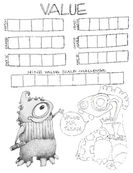 Value Scale and Monster Worksheet + Video Link