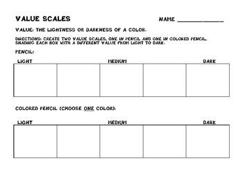 Value Scales Worksheet