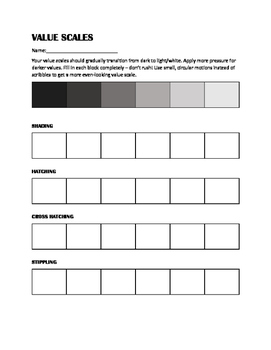 Value Scales Worksheet, Shading Practice Worksheet