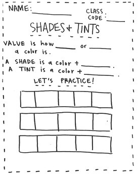Value Shades and Tints Worksheet