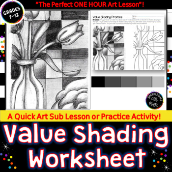 Value Shading Practice Worksheet  SUB PLAN  or  Printable Sketchbook Activity