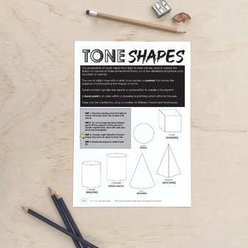 Value (Tone) Worksheet with Stipple, Shading, Crosshatching and Hatching.