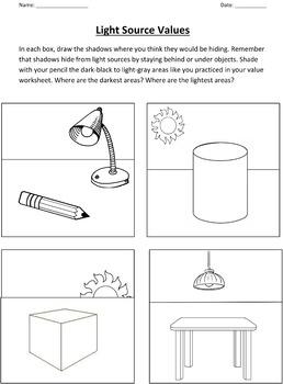 Value and Light Sources Worksheet