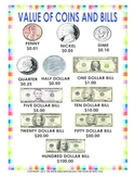 Value of Coins and Bills