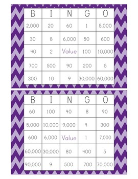 Value of a Digit Bingo PPT with 26 Bingo Cards 3.NBT.2 & 4.NBT.1-Chevron
