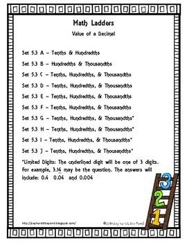 Value of a Digit - Decimals -  Set 5.3 {Math Ladders}