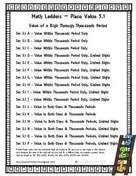 Value of a Digit through Thousands Period -  Set 5.1 {Math Ladders}