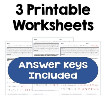 Expressions with Fractions, Decimals, and Mixed Numbers Worksheets (3 Levels)