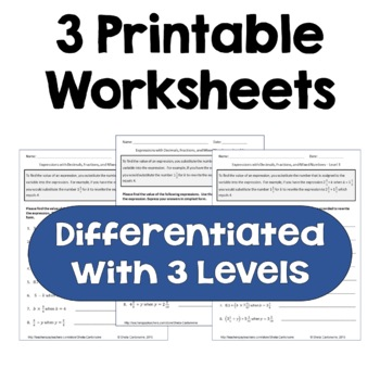 Algebraic Expressions with Fractions and Decimals Differentiated Worksheets