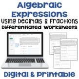Evaluating Algebraic Expressions with Fractions and Decimals Worksheets