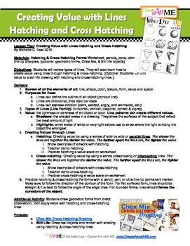 Value with Line Hatching and Cross Hatching Lesson Plan and Worksheet