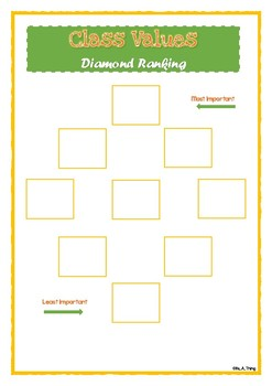 Values & Beliefs - diamond ranking activity