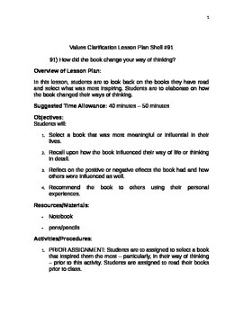 Values Clarification Lesson Plan Shell #91