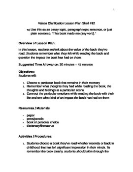 Values Clarification Lesson Plan Shell #92