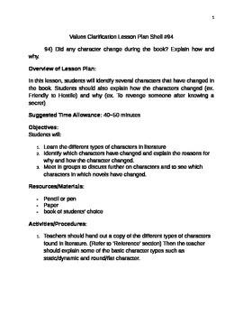 Values Clarification Lesson Plan Shell #94