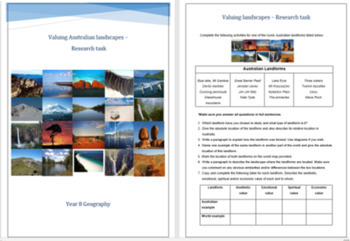 Valuing Australian Landscapes Research Task