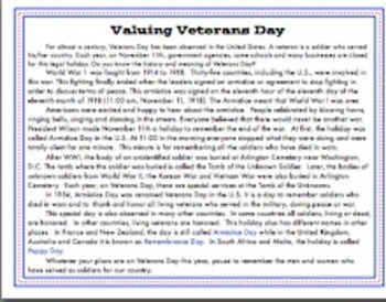 Valuing Veterans Day Mini Unit