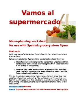 Vamos al supermercado Spanish flyer shopping worksheet