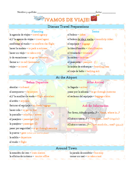 Vamos de viaje Vocabulary List (Avancemos 2 U1L1)