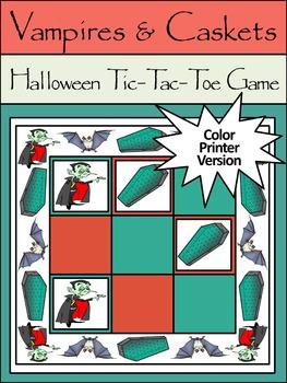 Vampire Activities: Vampires & Caskets Halloween Tic-Tac-Toe Game
