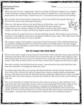 Vampire Bats Informational Text and Activity
