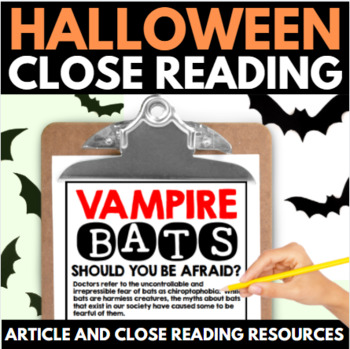 Halloween Close Reading - No Prep Halloween Articles, Reso