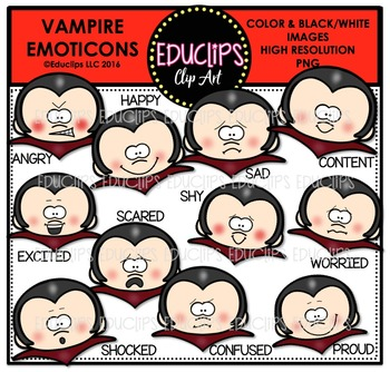 Vampire Emoticons Clip Art Bundle  {Educlips Clipart}