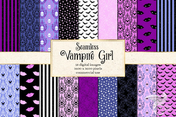 Vampire Girl Digital paper, cute pink and black glitter Halloween backgrounds