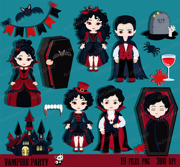 Vampire Party Digital Clip art. Vampire kids costume clipa