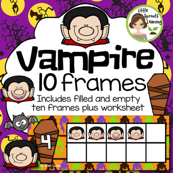 Vampire Ten Frames (includes worksheet) Great for Halloween Math Centers!