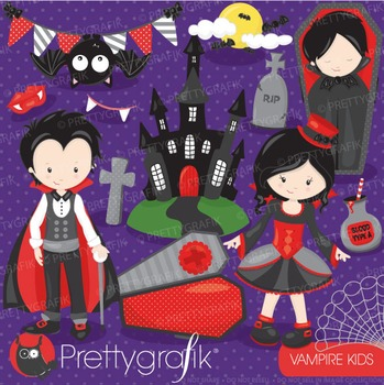 Vampire kids clipart commercial use, vector graphics, digi