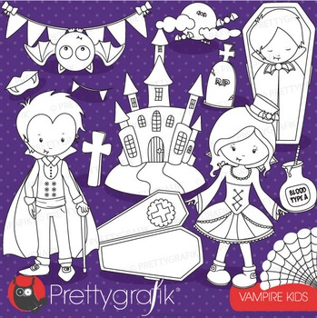 Vampire kids stamps commercial use, vector graphics, images - DS716