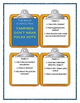 Bailey School Kids VAMPIRES DON'T WEAR POLKA DOTS - Discussion Cards
