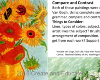 Van Gogh Flowers Compare and Contrast