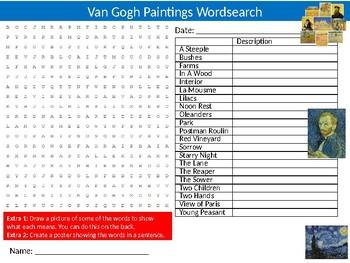 Van Gogh Paintings Wordsearch Puzzle Sheet Starter Keywords Vincent Artist