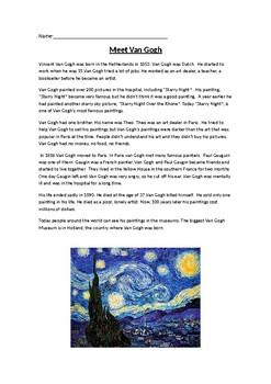 Van Gogh Reading Activity