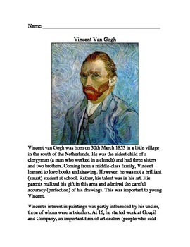 Van Gogh Reading, Quiz, and Connect the Dots