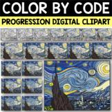 Van Gogh STARRY NIGHT Color by Code Progression Digital Clip Art
