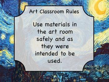 Van Gogh Starry Night Art Classroom Rules Labels, Handout, Printable