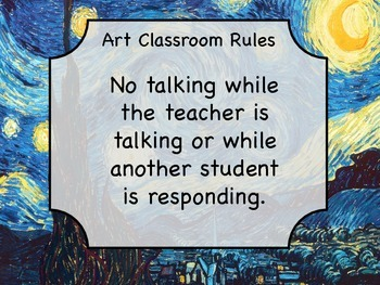 Van Gogh Starry Night Art Classroom Rules Labels, Handout,