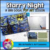 Starry Night, Van Gogh Pop Art, Art Lesson