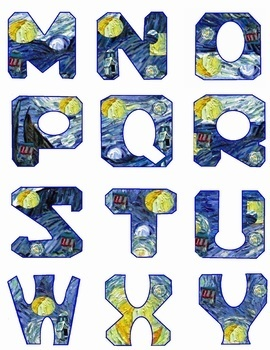 "Van Gogh's Starry Night in 2"" Alphabetical Letters - Clip Art in PNG and JPG-"